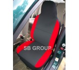 Peugeot Partner van seat covers anthracite cloth fabric with red bolsters- 2 fronts